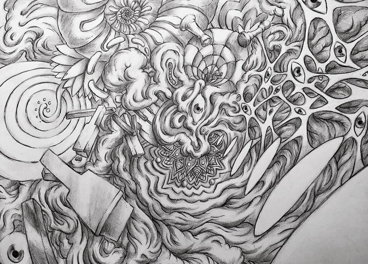 Dissolution, graphite ink, 24x1 - hypnagogist | ello