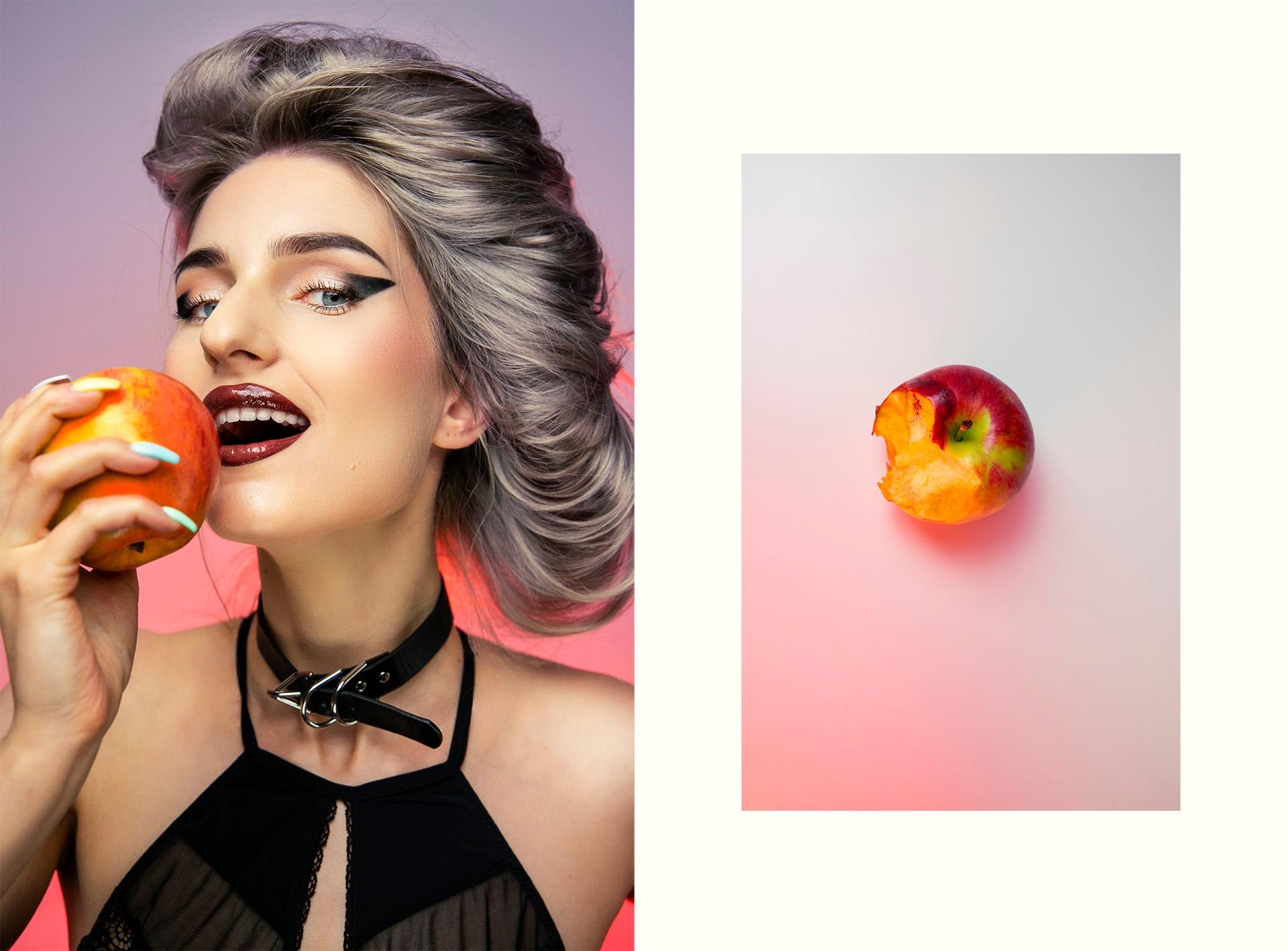 Obraz przedstawia dwa zdjęcia - zdjęcie kobiety jedzącej owoc, oraz zdjęcie ugryzionego jabłka.