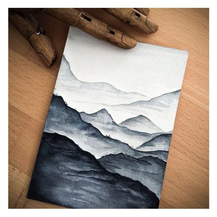 Mountainlove - mountainscape, watercolordaily - melanismde   ello