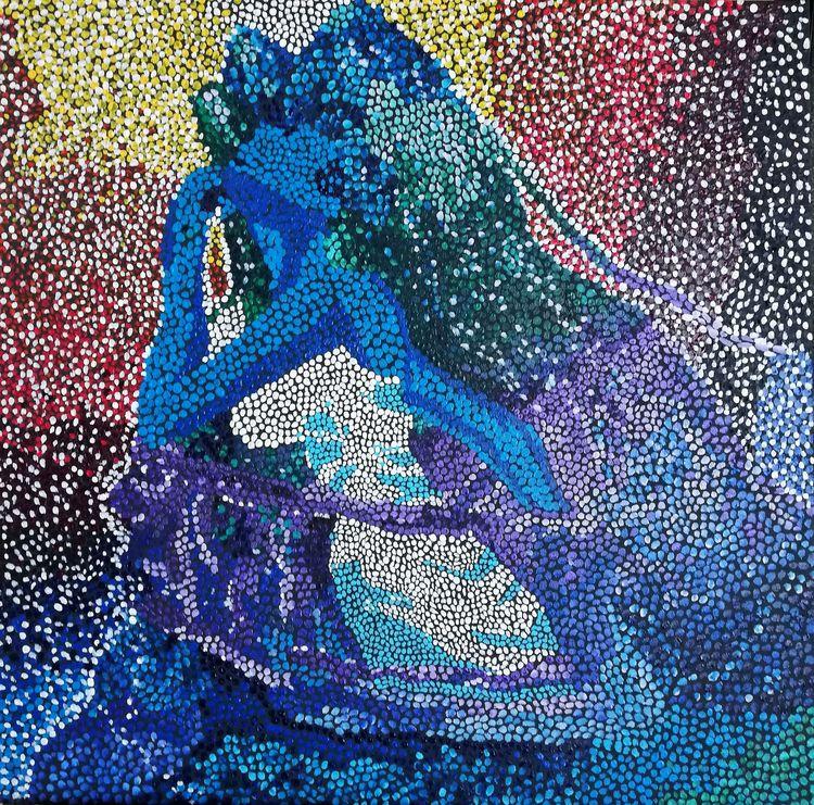 painting, art, pointillism, girl - marika11   ello