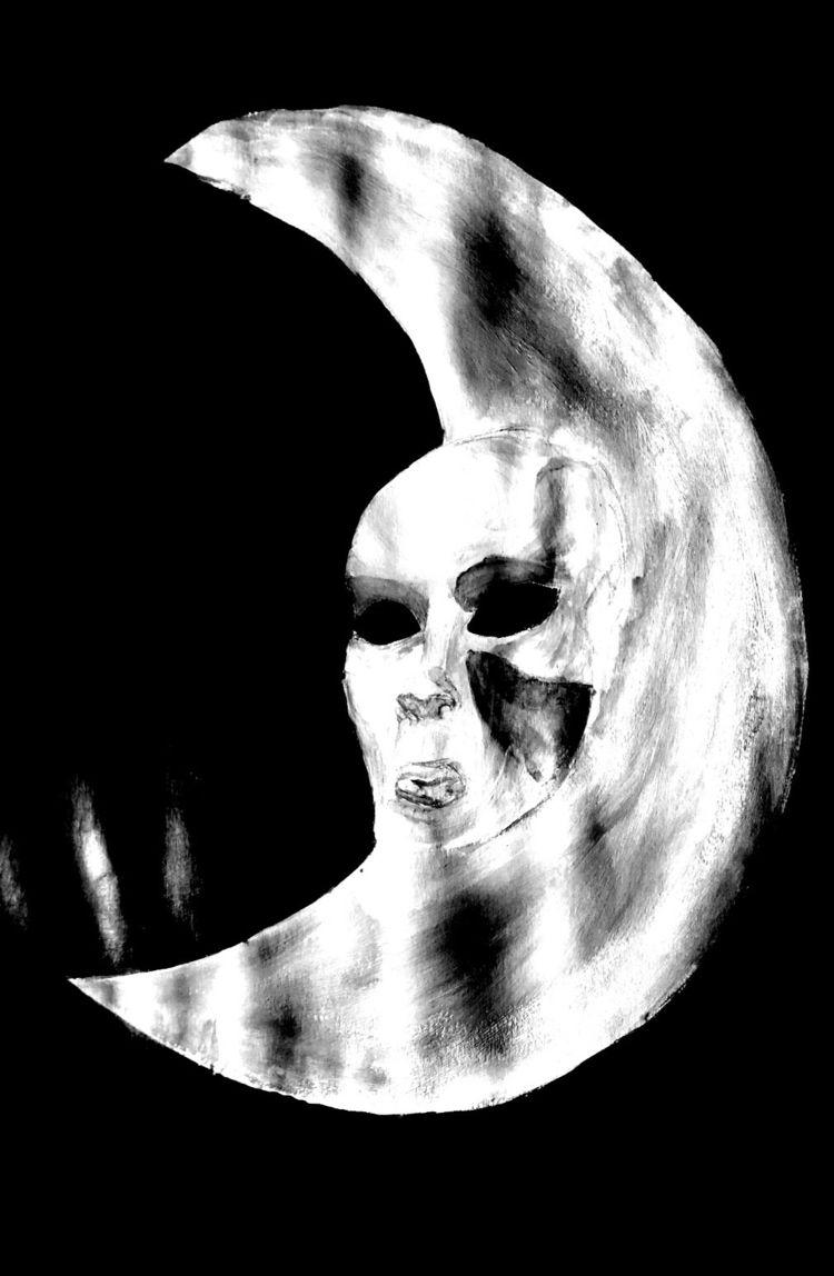 hollow moon • Acrylic painting  - handypranata   ello