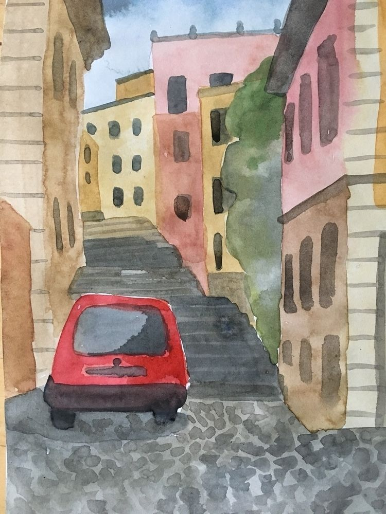 Rome| Stairs  - art#watercolor#sketchbook#rome#landscape#streets#city#modern#contemporary#paper#ink - chulanova | ello