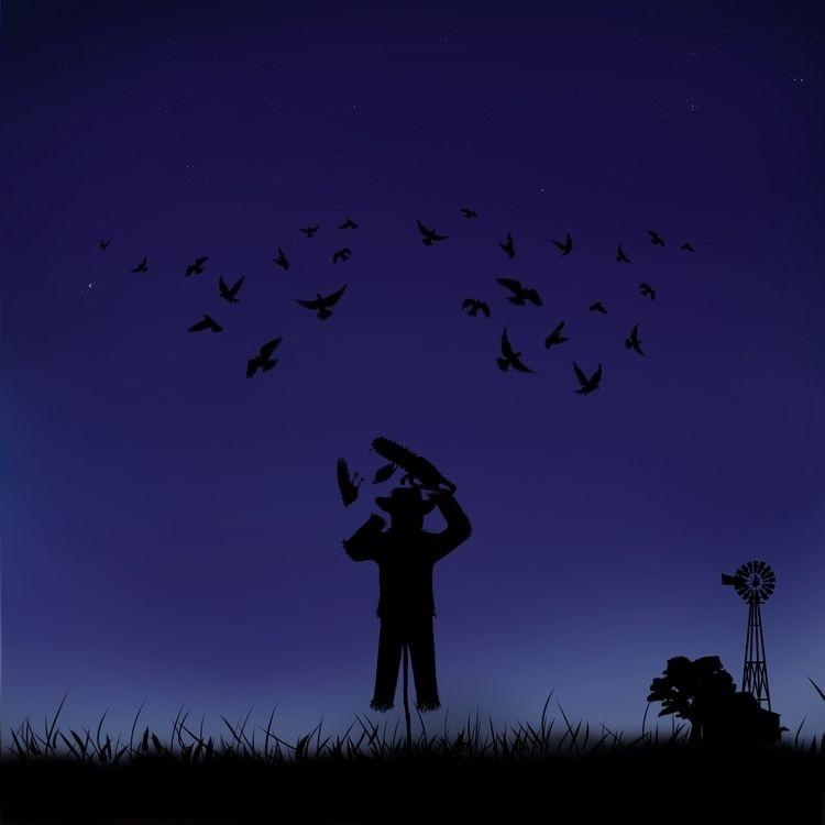 drawing scarecrow cutting birds - sichadelic | ello