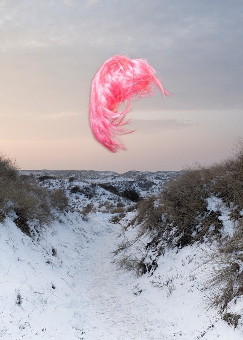Wig - wig, hair, pink, flying, snow - moniquegoossens   ello