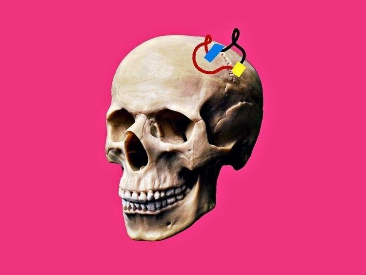 Cyborg - pink, popart, skull, human - jbkhq | ello