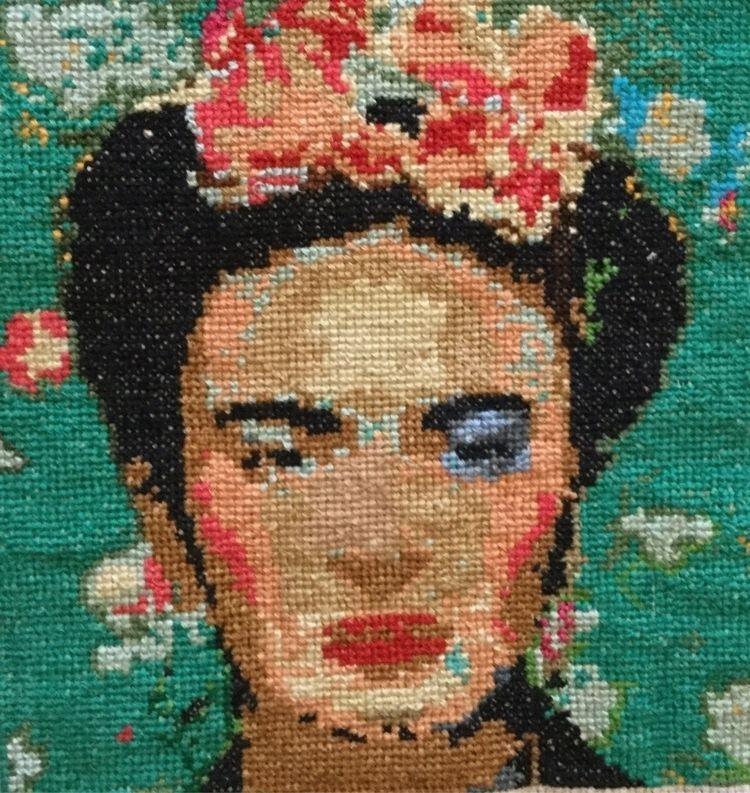 Frida Kahlo cross stitch, whopp - sunshine75 | ello