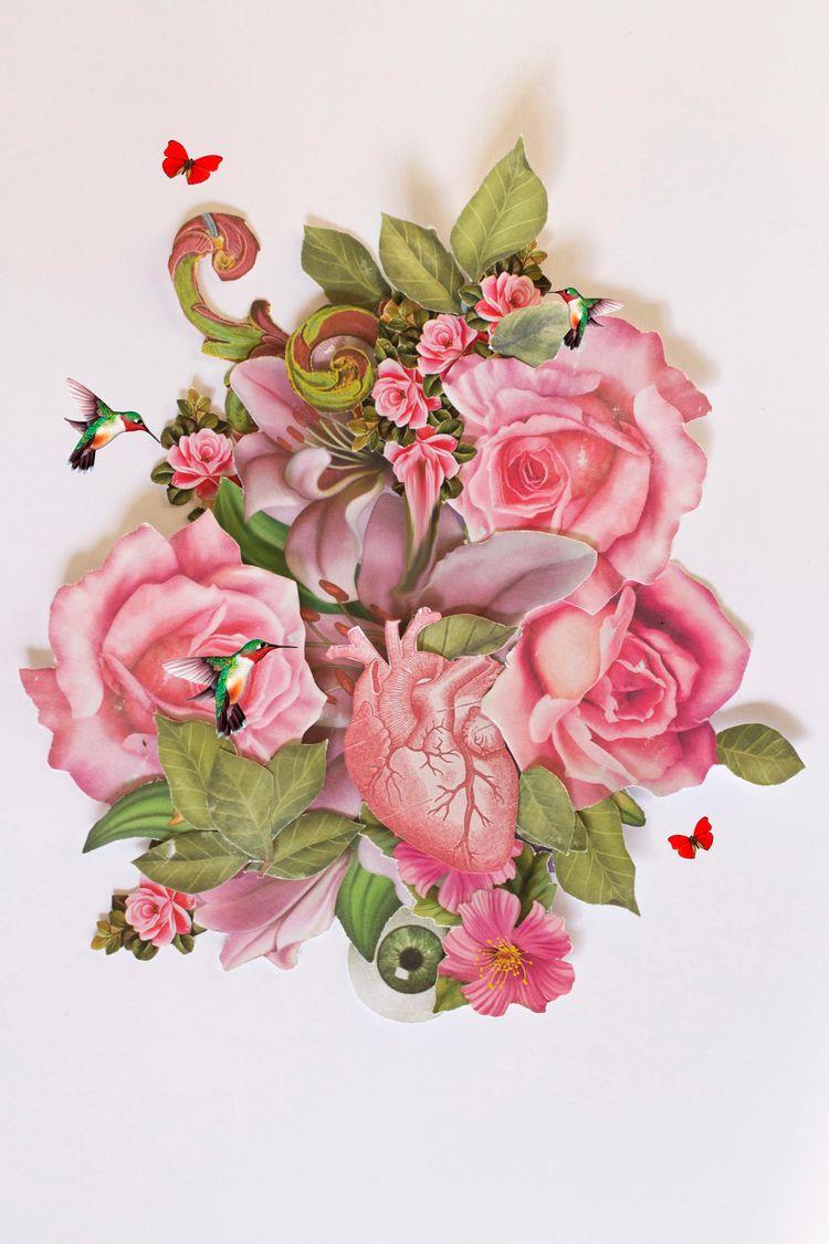 pink - collage, flower, heart, artwork - franalvez   ello
