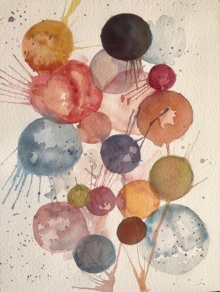 Cosmic Bubbles - 9x12 Watercolo - tartart | ello