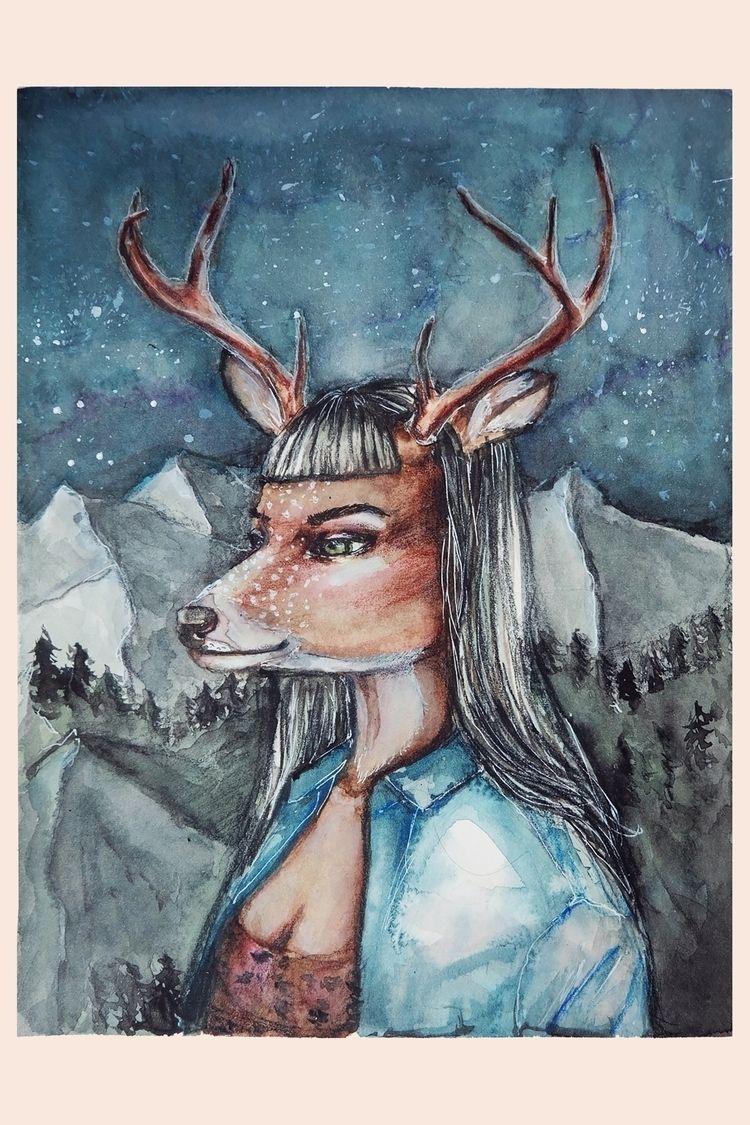 Deer - watercolorillustration - novleaf | ello