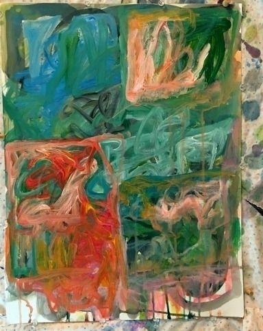 Garden Cascadia Acrylic abstrac - russellcollageart | ello
