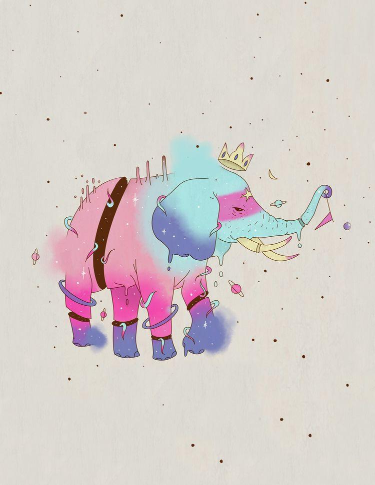 Space Elephant - elephant, illustration - yosoypetunia | ello