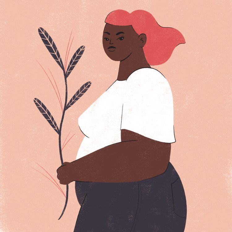 Plant lover  - woman, plant, portrait - carmelacaldart | ello