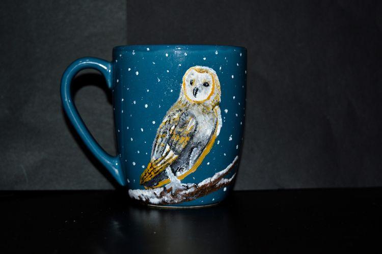 Acrylic painting - handmade, owl - catinleaves | ello