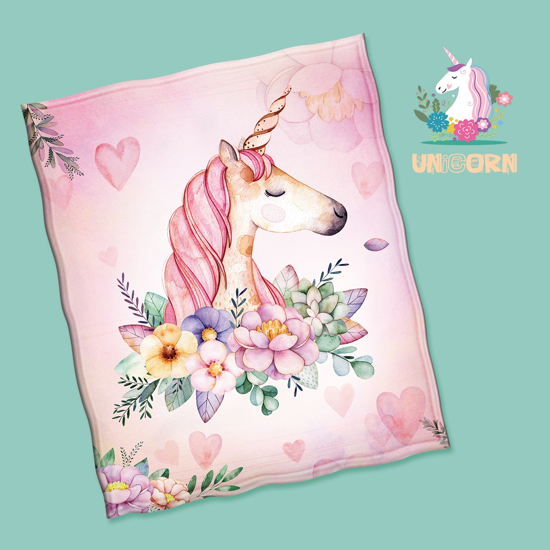 Fleece unicorn printed throw bl - ivysmith | ello