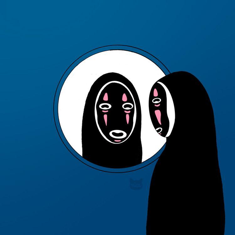 face wearing ash mask - noface, ghibli - nicartdaily   ello