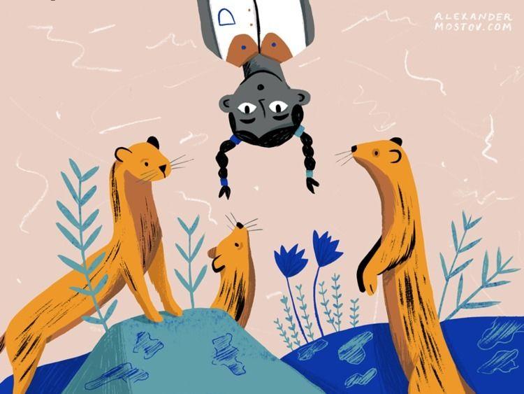 awkward - illustration, ferrets - alexander_mostov   ello