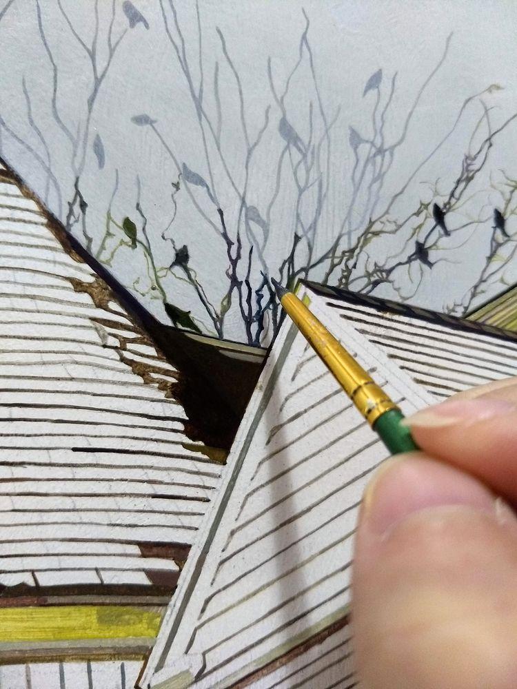 Building rooftops, dead branche - jolenelaiart | ello