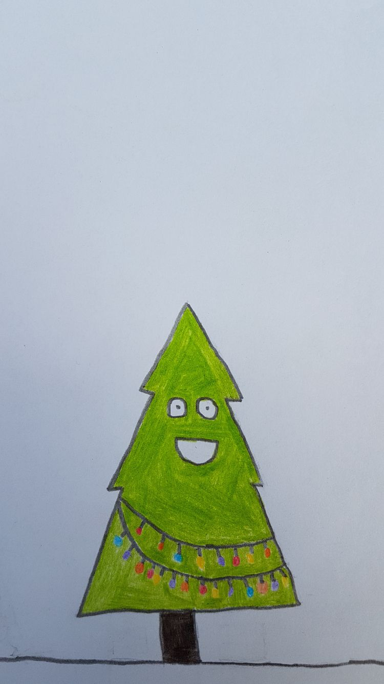 ChristheChristmastree, Art, Christmasiscoming - cucumber_cat_ | ello