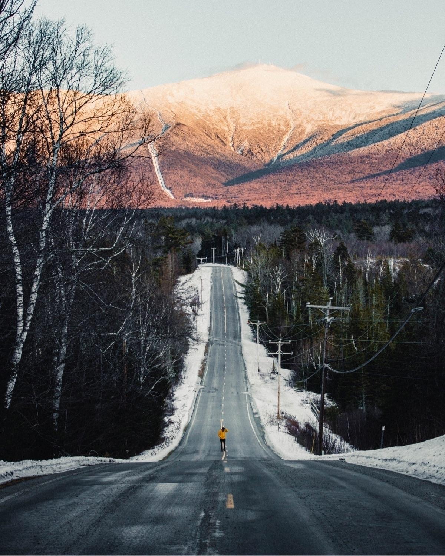 Snowy sunset long road.  - agameoftones - dave | ello