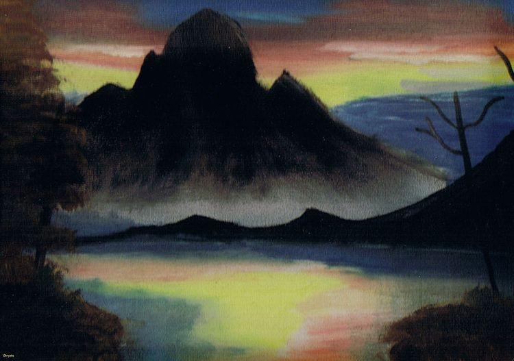 Mountain Sunset - Oil canvas - landscape - jester-loki   ello