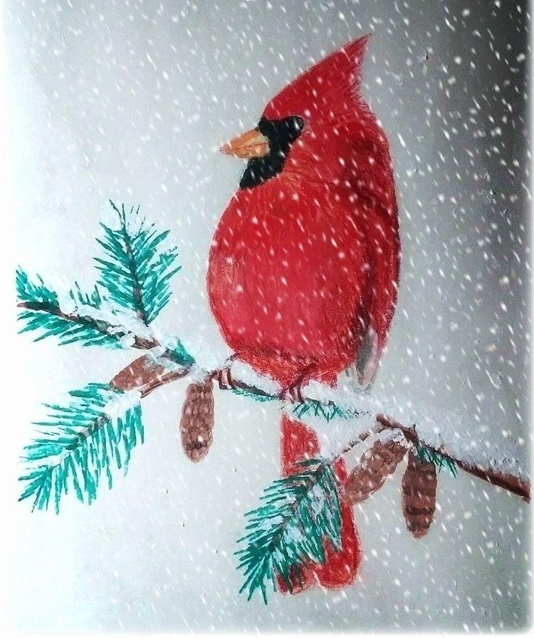 Cardinal Snowstorm - watercolou - jester-loki   ello
