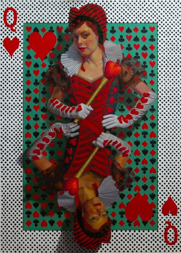 Queen Hearts, Oil linen, 32 23  - mikebrewerart | ello