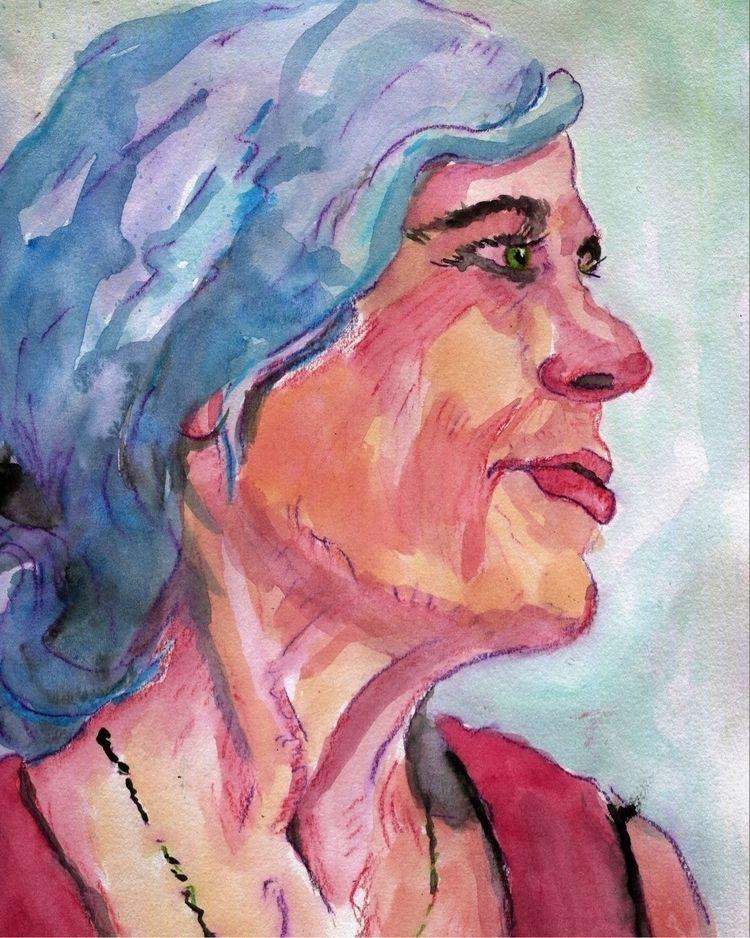 future - watercolor, portrait, sketch - gravesart | ello