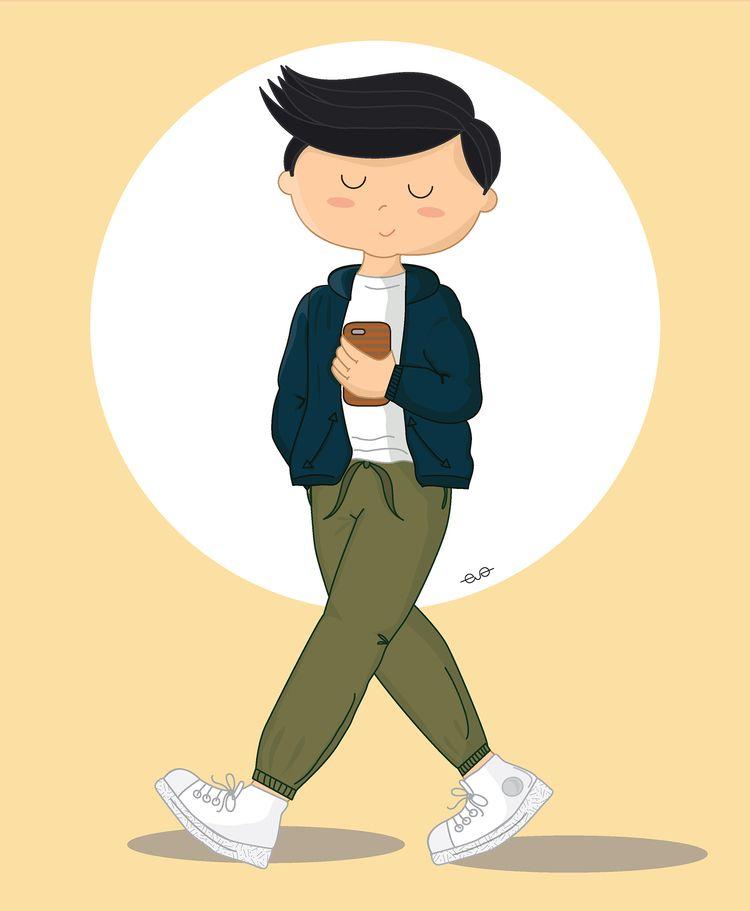 Absent minded teenager walking - evafer | ello