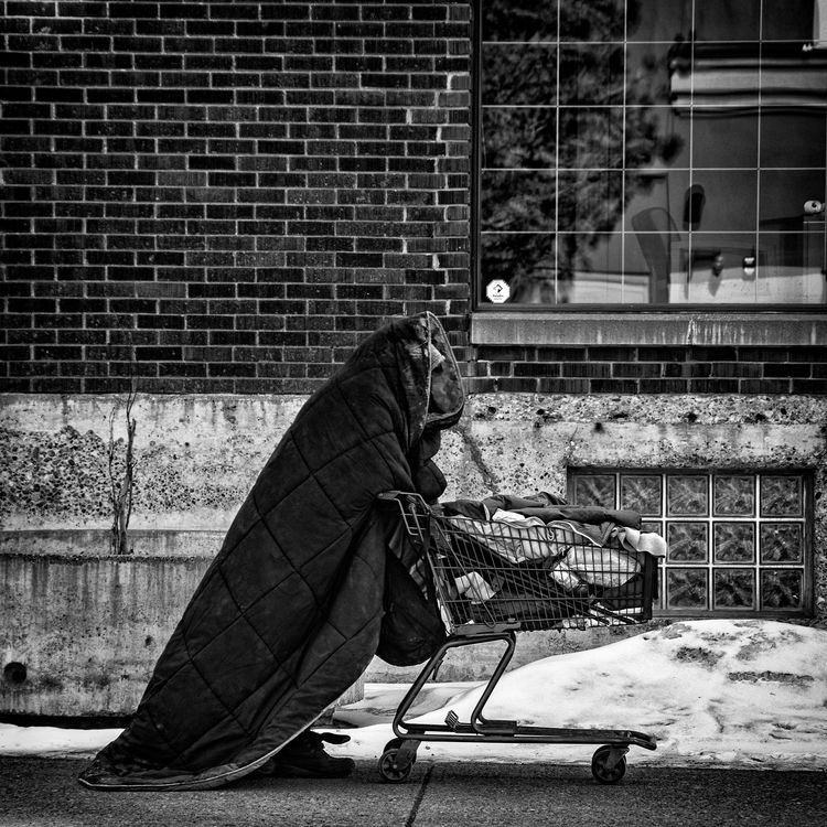 homeless man wrapped comforter  - jeff_day | ello