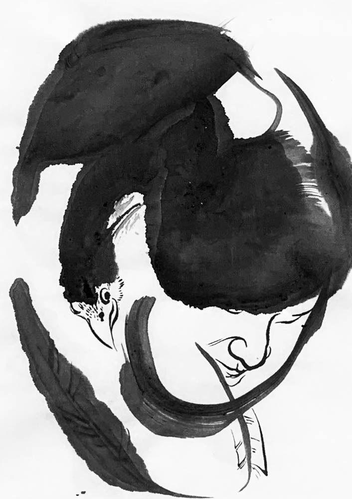 art, inkwash, figurative, chicken - mlui   ello