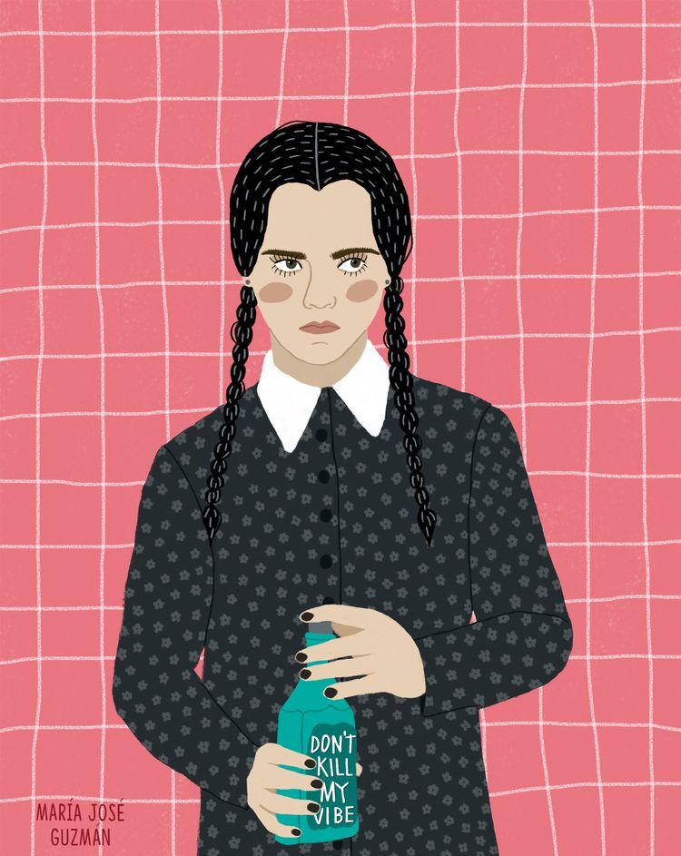 wednesday, addams, illustration - mariajoseguzman | ello