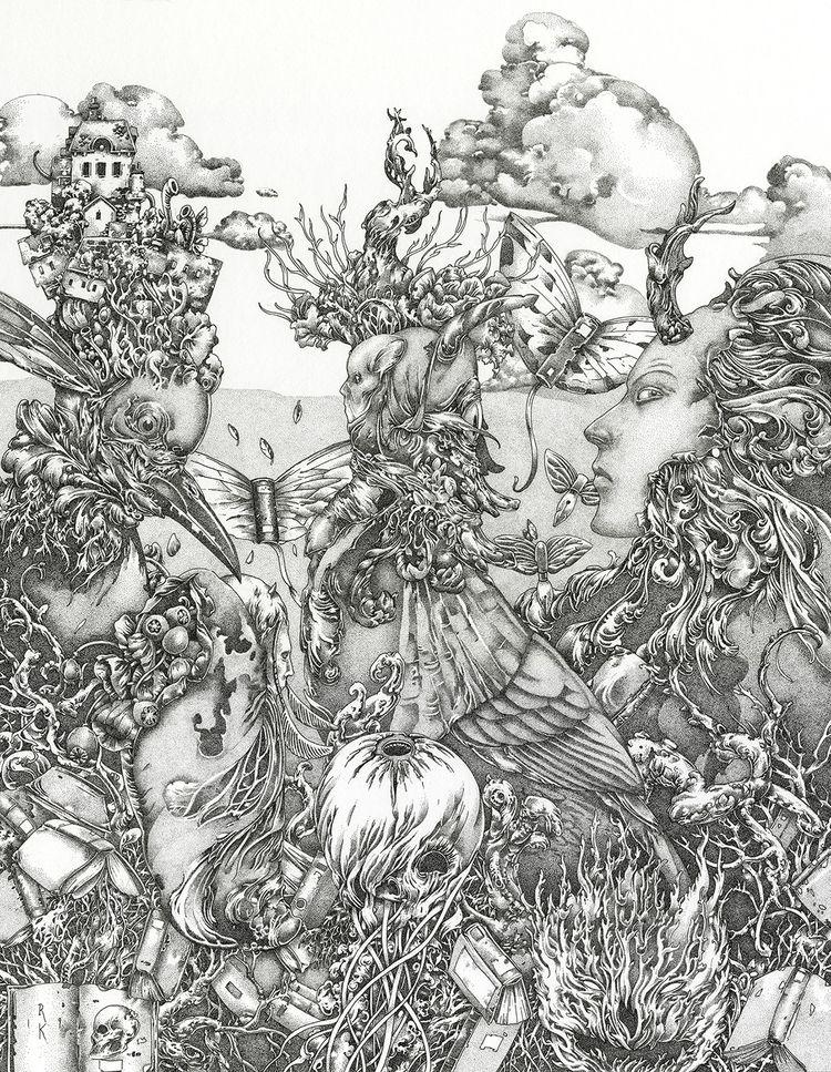 Wedding Earth Sky, 2020, ink, 2 - richardakirk | ello