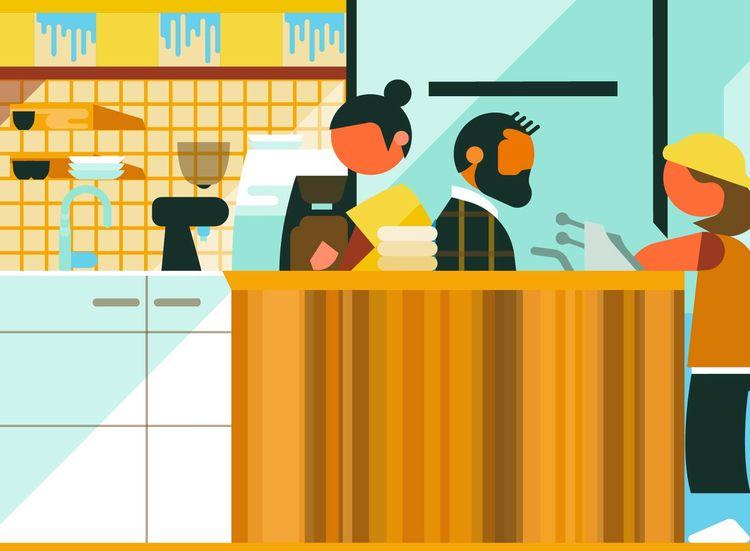 cafe, interiors, vector, illustration - bentheillustrator | ello