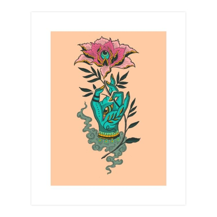Hand Lotus - illustration, tibetan - polkip | ello