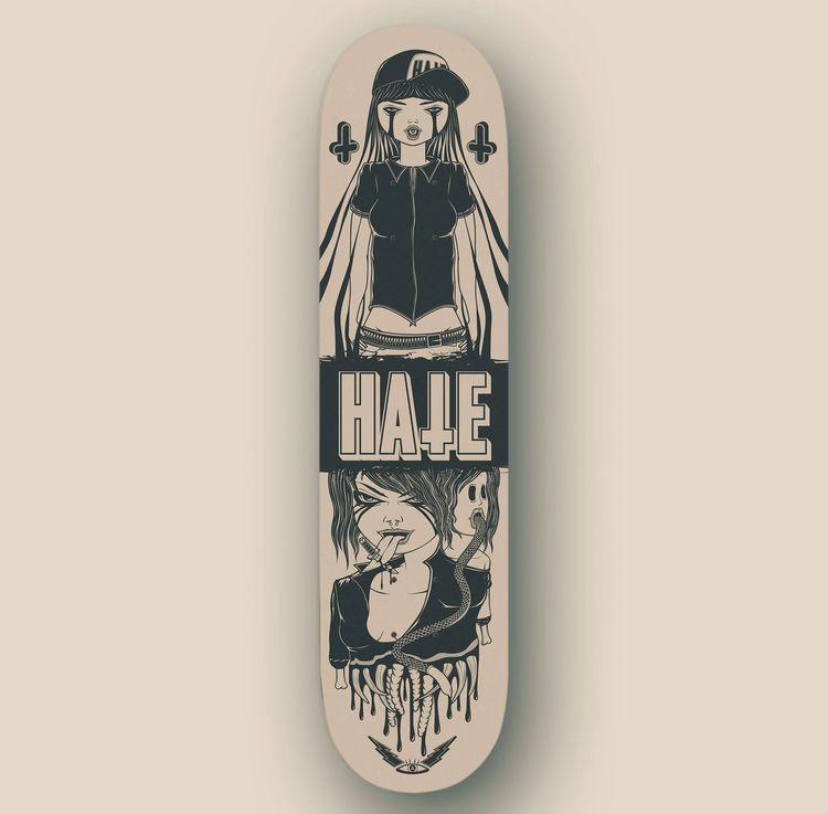 HATE Skateboard - andreamoresco | ello