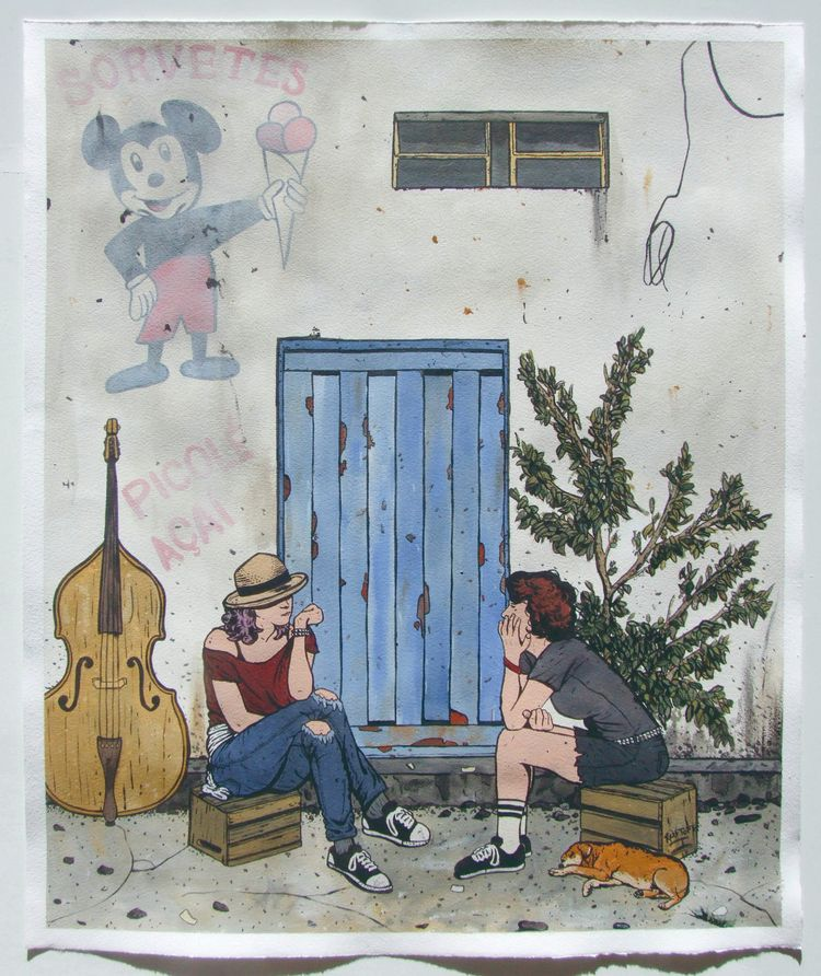 Neighbors acrylic paper 57x70 c - diogorustoff | ello