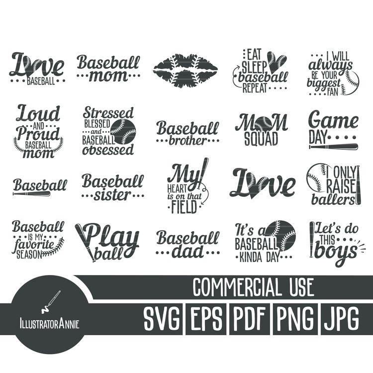 pack includes 20 baseball SVG d - annijajansone | ello