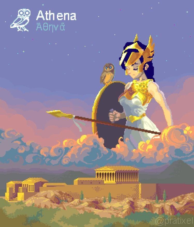 pixelart, athena, mythology, godness - pratixel | ello
