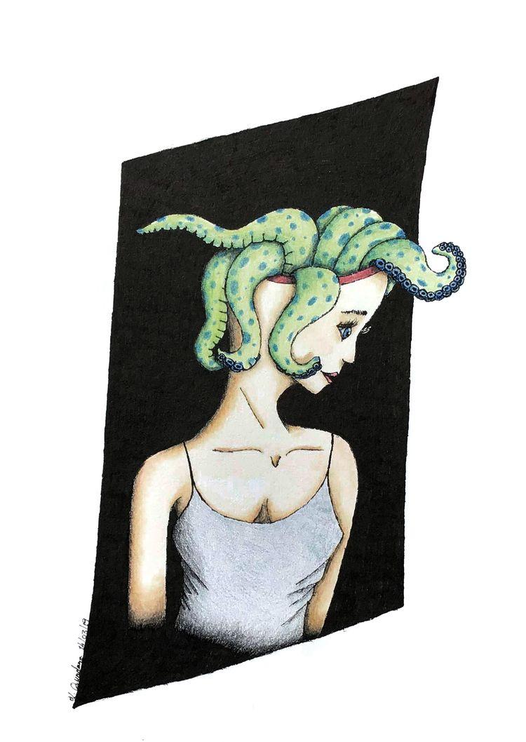 Octopus Head. Coloured pencils  - cadno | ello