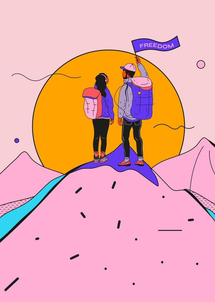 Freedom - poster, góry, bieszczady - ewelinagaska | ello