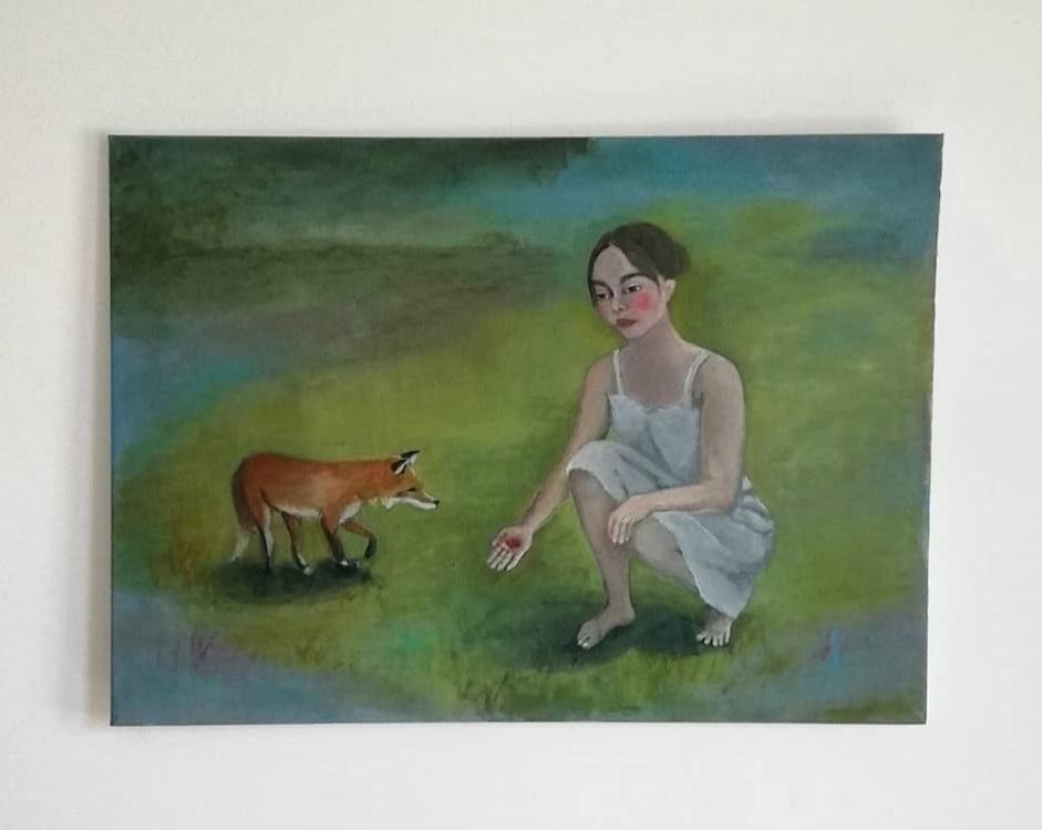 Woman Fox Acrylic Canvas 65 90 - enniswan | ello