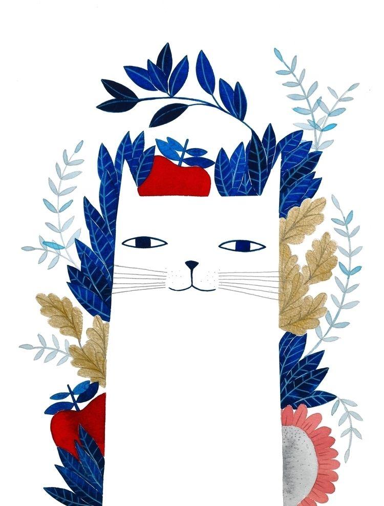 white cat - pinknounou, watercolor - pinknounou | ello