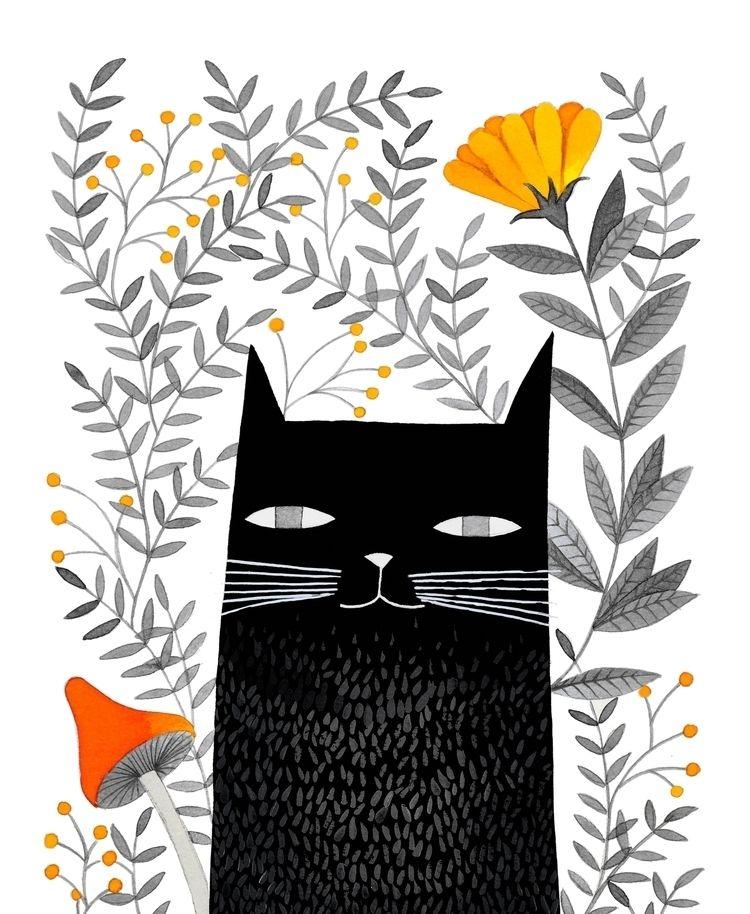 black cat - pinknounou, watercolor - pinknounou   ello