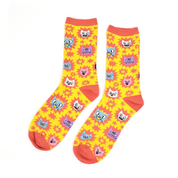 designed crazy cat socks Hank A - jackteagle | ello