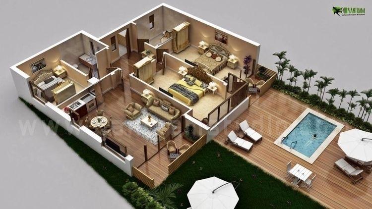 Traditional 3d home floor plan  - yantramstudio | ello