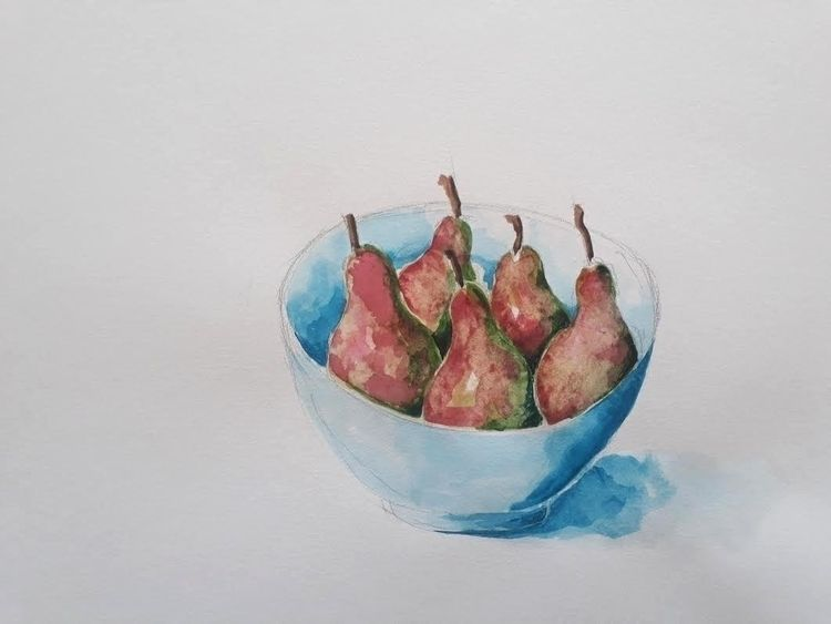 Pears Bowl Minute Watercolour 2 - burningbuddha | ello
