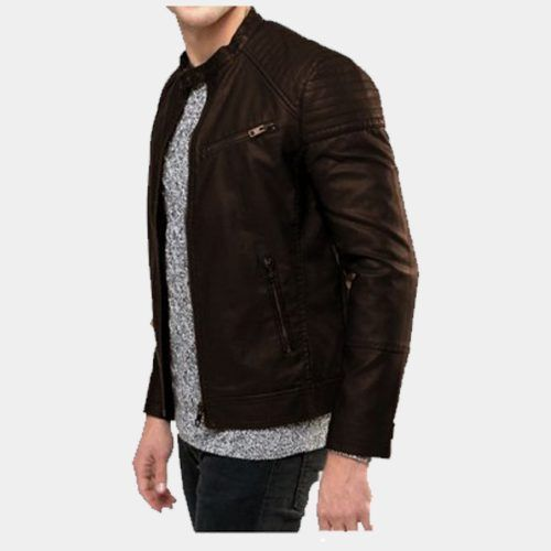 Brown leather jacket front pock - mrstyless   ello