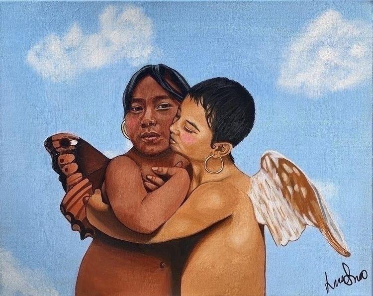 Angelitos 16x20 Acrylic canvas  - lordlili | ello