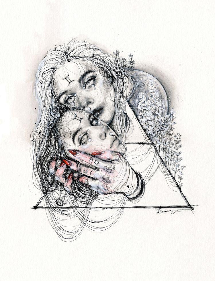 GEMINI - gemini, drawing, art, inkdrawing - ibreathart | ello