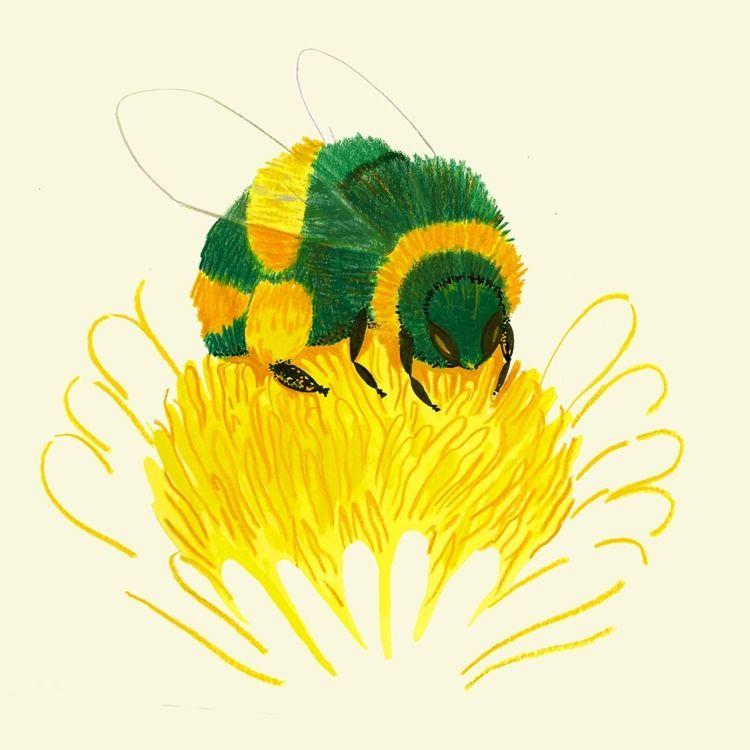 bees mowing dandelions, gardene - cesdavolio | ello
